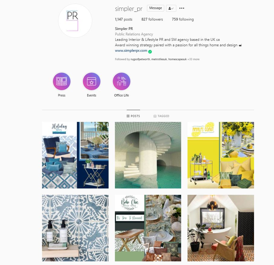 simpler pr instagram grid